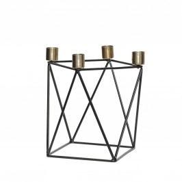 Kovový svícen Black/Brass, černá barva, zlatá barva, kov