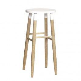 Barová stolička Nature/white, bílá barva, dřevo