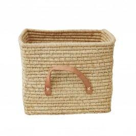 Slaměný košík s koženými uchy Natural, béžová barva, hnědá barva, krémová barva, proutí, kůže