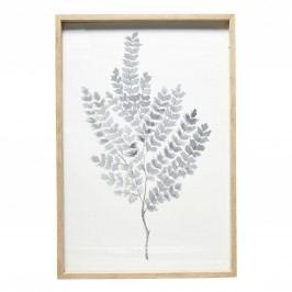 Dřevěný rám s obrázkem Leaves, bílá barva, sklo, dřevo