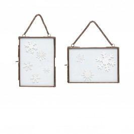 Skleněný rámeček na řetízku Copper Vodorovný, měděná barva, čirá barva, sklo, kov