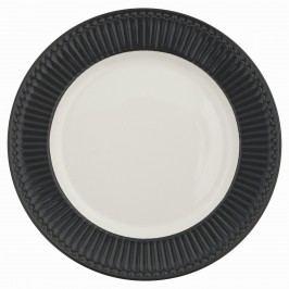GREEN GATE Obědový talíř Alice dark grey, šedá barva, bílá barva, porcelán