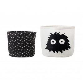 Bloomingville Úložné košíky do dětského pokojíčku - set 2ks, černá barva, bílá barva, textil