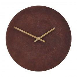 House Doctor Nástěnné hodiny Inuse, červená barva, zlatá barva, kov