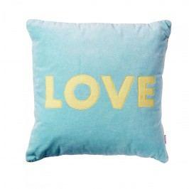 rice Sametový polštář LOVE se zlatým lemováním, modrá barva
