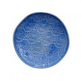 rice Dezertní talíř Embossed Blue, modrá barva, keramika