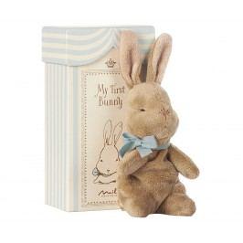 Maileg Králičí chlapeček My First Bunny, modrá barva, hnědá barva, papír, textil