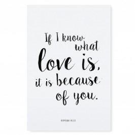 TAFELGUT Plakát Love is 30x42, černá barva, bílá barva, papír