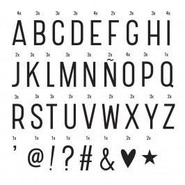 A Little Lovely Company Set písmen a symbolů pro Lightbox: Basic, černá barva, bílá barva, plast