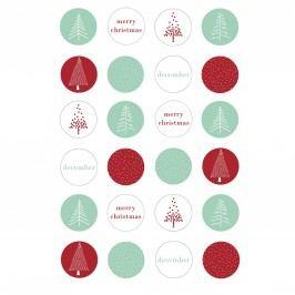 Bloomingville Vánoční nálepky Lucia - 24 ks, červená barva, zelená barva, bílá barva, papír