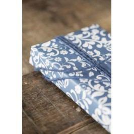 IB LAURSEN Balicí papír Flower pattern Blue - 10 m (úzký), modrá barva, papír