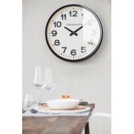 IB LAURSEN Nástěnné hodiny Copenhagen Black 52cm, černá barva, sklo, kov