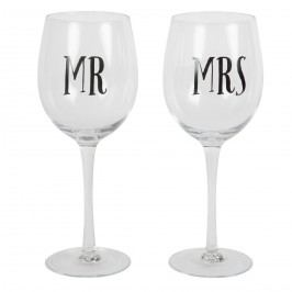 sass & belle Sklenice na víno Mr & Mrs MR, černá barva, čirá barva, sklo