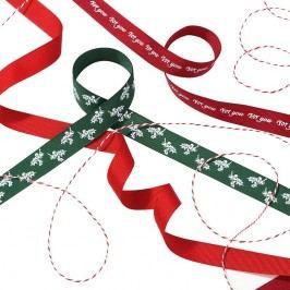 Talking Tables Dekorativní vánoční stuhy Botanical, červená barva, zelená barva, textil