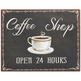 IB LAURSEN Plechová cedule Coffee Shop, černá barva, hnědá barva, kov