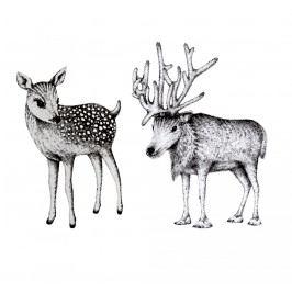 Bloomingville Vánoční samolepka nejen na svíčku Bambi, šedá barva, plast