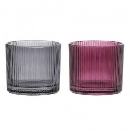 Bloomingville Skleněný svícen Votive Glass Šedá, fialová barva, šedá barva, sklo