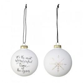 Bloomingville Vánoční ozdoba Christmas Glass - set 4ks, černá barva, bílá barva, zlatá barva, sklo