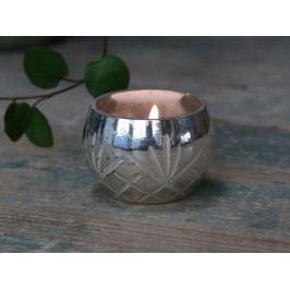 Chic Antique Skleněný svícínek Silver Cutting, stříbrná barva, sklo