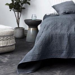 House Doctor Bavlněný přehoz přes postel Tria 140x220cm, modrá barva, textil