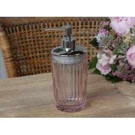 Chic Antique Skleněný zásobník na mýdlo Rose, růžová barva, sklo, plast