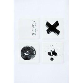 Ylva Skarp Podtácek Black print 19x19 cm Text, černá barva, bílá barva, keramika
