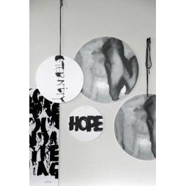 Ylva Skarp Závěsná dekorace Hope 25cm, černá barva, bílá barva, plast
