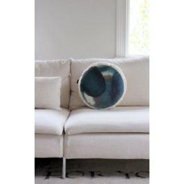 Ylva Skarp Sametový polštář Round blue, modrá barva, textil