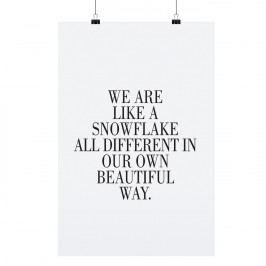 TAFELGUT Plakát Snowflake 30x42 cm, černá barva, bílá barva, papír