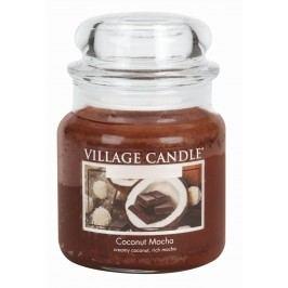 VILLAGE CANDLE Svíčka ve skle Coconut Mocha - střední, hnědá barva, sklo, vosk
