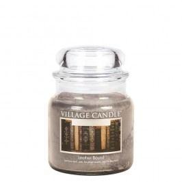 VILLAGE CANDLE Svíčka ve skle Leather Bound - střední, šedá barva, sklo, vosk