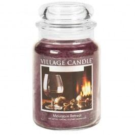 VILLAGE CANDLE Svíčka ve skle Mountain Retreat - velká, červená barva, fialová barva, sklo, vosk
