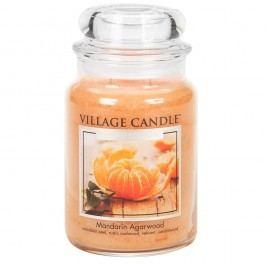 VILLAGE CANDLE Svíčka ve skle Mandarin Agarwood - velká, oranžová barva, sklo, vosk
