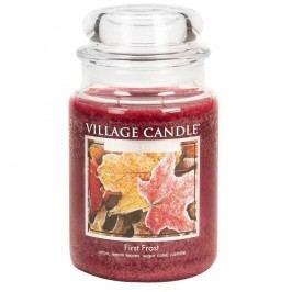 VILLAGE CANDLE Svíčka ve skle First Frost - velká, červená barva, sklo, vosk