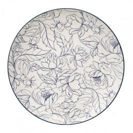 Bloomingville Keramický talíř Fleur Creme, modrá barva, krémová barva, keramika