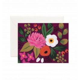 Rifle Paper Co. Přání s obálkou Burgundy Blossoms, červená barva, růžová barva, papír
