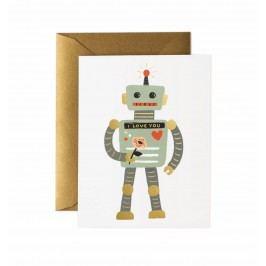 Rifle Paper Co. Přání s obálkou Love Robot, šedá barva, zlatá barva, papír