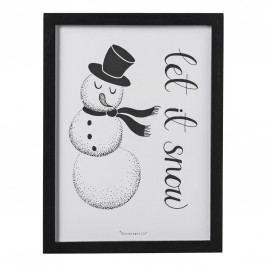 Bloomingville Obrázek v černém rámečku Snowman, černá barva, dřevo