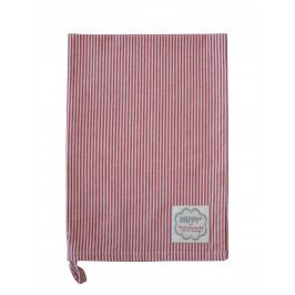Krasilnikoff Utěrka Red small stripes, červená barva, textil