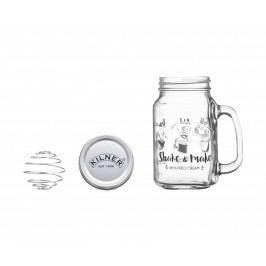 KILNER Sklenička na výrobu šlehačky Shake & Make, čirá barva, sklo