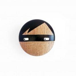 Lucie Kaas Dubový háček Thief 9 cm, černá barva, dřevo