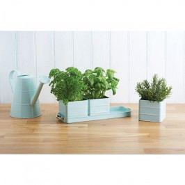 Kitchen Craft Plechové květináčky na bylinky Blue, modrá barva, kov