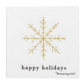 Bloomingville Papírové ubrousky Happy Holidays, bílá barva, zlatá barva, papír