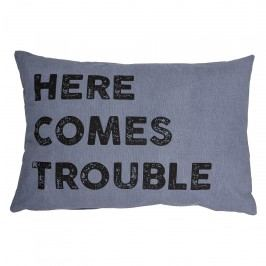 Bloomingville Bavlněný polštář Trouble 60x40, modrá barva, textil