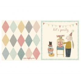 Maileg Přání s obálkou Let's party Blue, multi barva, krémová barva, papír