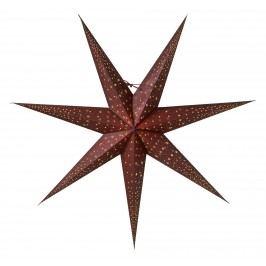 watt & VEKE Závěsná svítící hvězda Isadora Burgundy 80 cm, červená barva, hnědá barva, papír