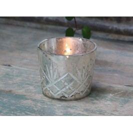 Chic Antique Skleněný svícen na čajovou svíčku Antique Silver, stříbrná barva, sklo