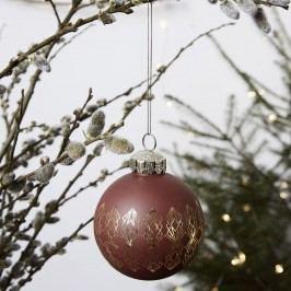 House Doctor Vánoční baňka Burnt Henna, červená barva, hnědá barva, sklo