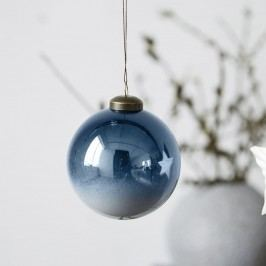 House Doctor Vánoční baňka Divided Blue, modrá barva, sklo