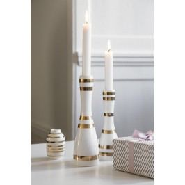 KÄHLER Keramický svícen Omaggio Gold 24 cm, bílá barva, zlatá barva, keramika
